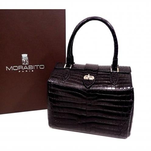 モラビト(MORABITO) 2016年 オルセー ソフトマット クロコダイル ハンドバッグ