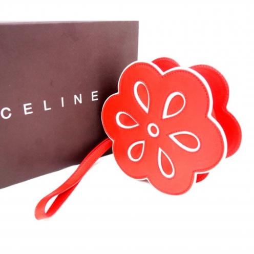 セリーヌ(CELINE) フラワーモチーフ ラウンドジップ クラッチバッグ