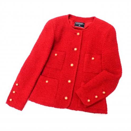 シャネル(CHANEL) ノーカラーツイード ココマーク付きジャケット