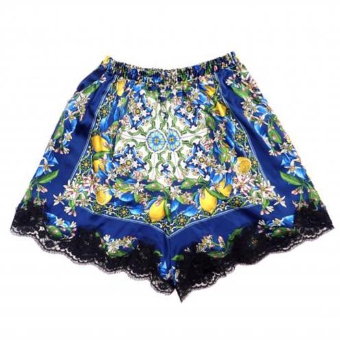 ドルチェ&ガッバーナ(Dolce & Gabbana) レース切替総柄シルクショートパンツ