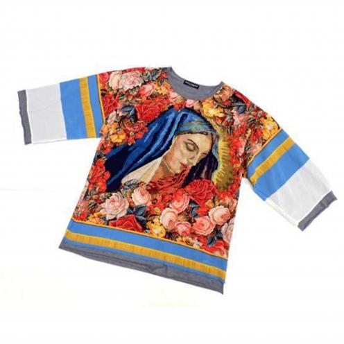 ドルチェ&ガッバーナ(Dolce & Gabbana) 2013年AWコレクション着用 総柄プリントシルクレイヤードTシャツ