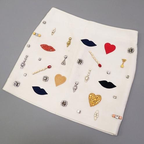 ステラマッカートニー(Stella McCartney) ビジュー ワッペンデザイン シルク混ミニスカート
