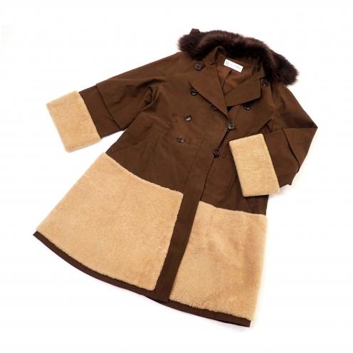 クリスチャンディオール(Christian Dior) 2010年 ファー襟 ボア切替 オーバーサイズダブル Aラインコート