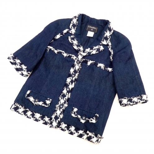 シャネル(CHANEL) 07P ツイードパイピング七分袖 ココマーク付き デニムジャケット