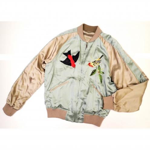 グッチ(GUCCI) 2003年SS トムフォード期 スカジャン 鳥刺繍 シルク100% リバーシブルブルゾン
