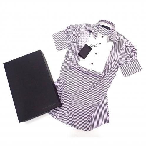ディースクエアード(DSQUARED2) ストライプ柄 切替半袖ドレスシャツ