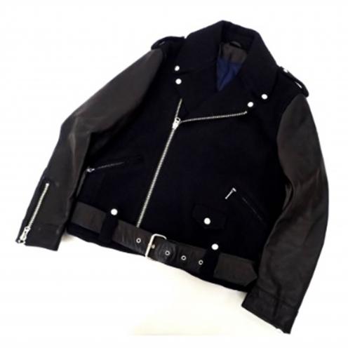 アクネ(Acne) 2012年AW CASSADY Moto Jacket レザースリーブ ウールダブルライダースジャケット