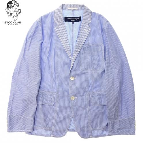 COMME des GARCONS HOMME コムデギャルソン オム AD2007 ストライプ切替 コットン シャツ ジャケット
