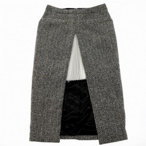 Sacai サカイ プリーツレイヤードツイードタイトスカート