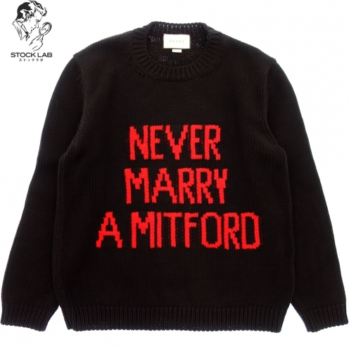 GUCCI グッチ 2018AW NEVER MARRY A MITFORD コットンニットセーター