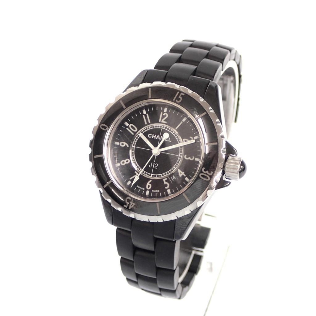 美品♦CHANEL シャネル J12 H0682 ブラックセラミック クウォーツ腕時計 黒×シルバー 箱付き