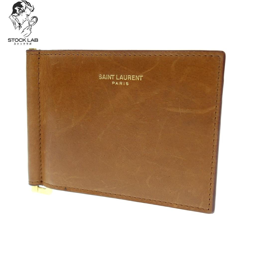 ◆SAINT LAURENT PARIS サンローランパリ レザー 二つ折り財布 マネークリップ キャメル メンズ