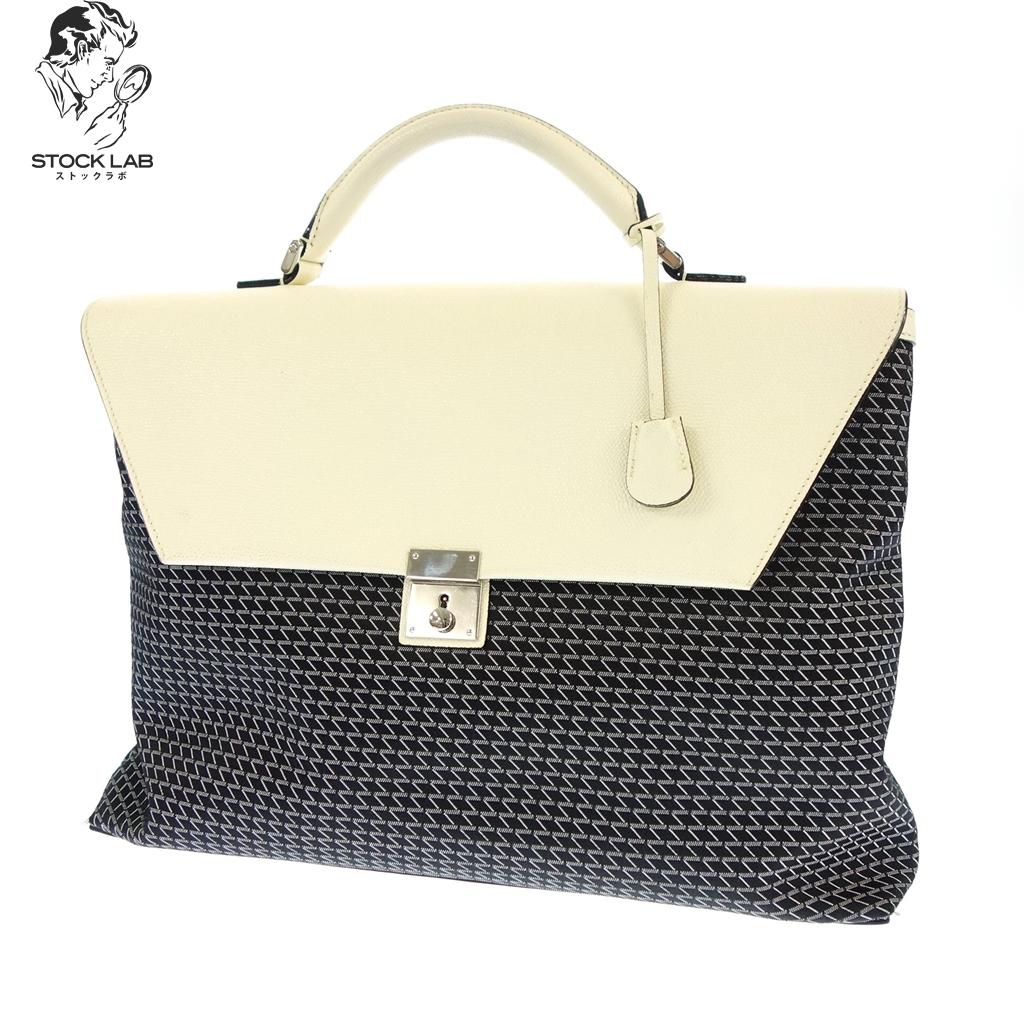 極美品◆Valextra ヴァレクストラ ケーヴァル レザー 2WAY ビジネスバッグ 黒×白 メンズ
