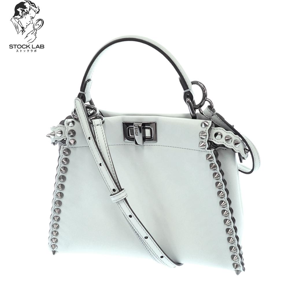 ◆FENDI フェンディ ミニピーカブー セレリア スタッズ 2WAYレザーショルダーバッグ ハンドバッグ