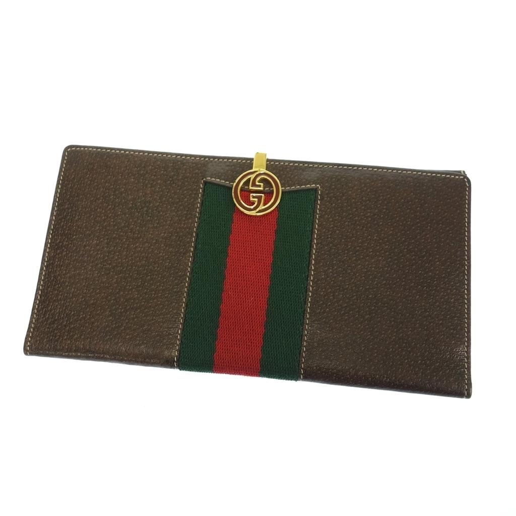 ◆GUCCI グッチ vintage シェリーライン レザー 二つ折り長財布 ウォレット ブラウン