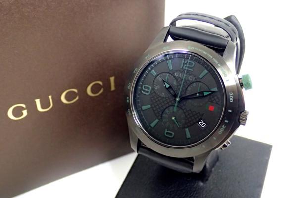 極美◆GUCCI グッチ 126.2 Gタイムレス クロノグラフ メンズウォッチ クォーツ式腕時計 ブラック×グリーン