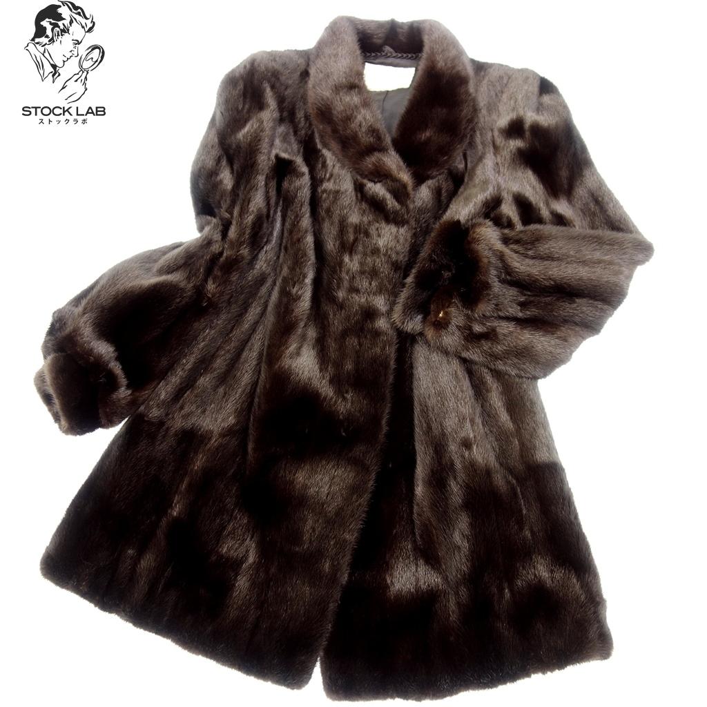 美品◆BlackJewel ブラックジュエル ミンク ショールカラーロングコート 逆毛 17 ダークブラウン 毛皮 MINK ファー
