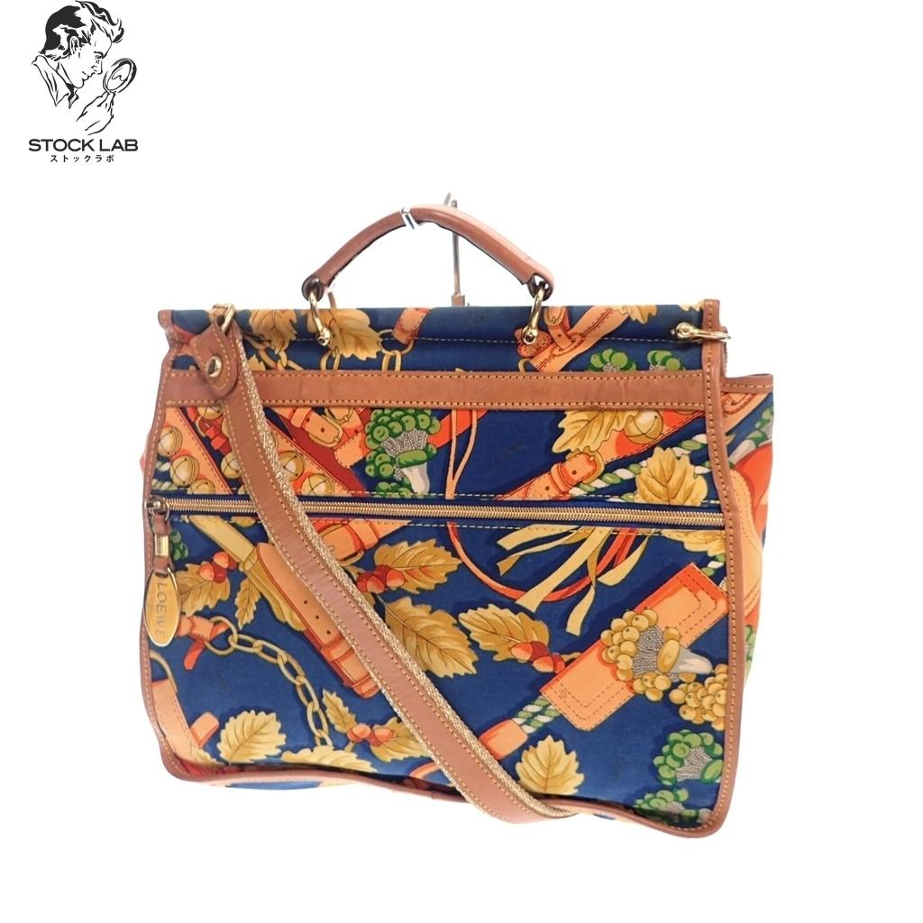 ◆LOEWE ロエベ Vintage ヴィンテージ 総柄 キャンバス 2WAYハンドバッグ ショルダー マルチカラー