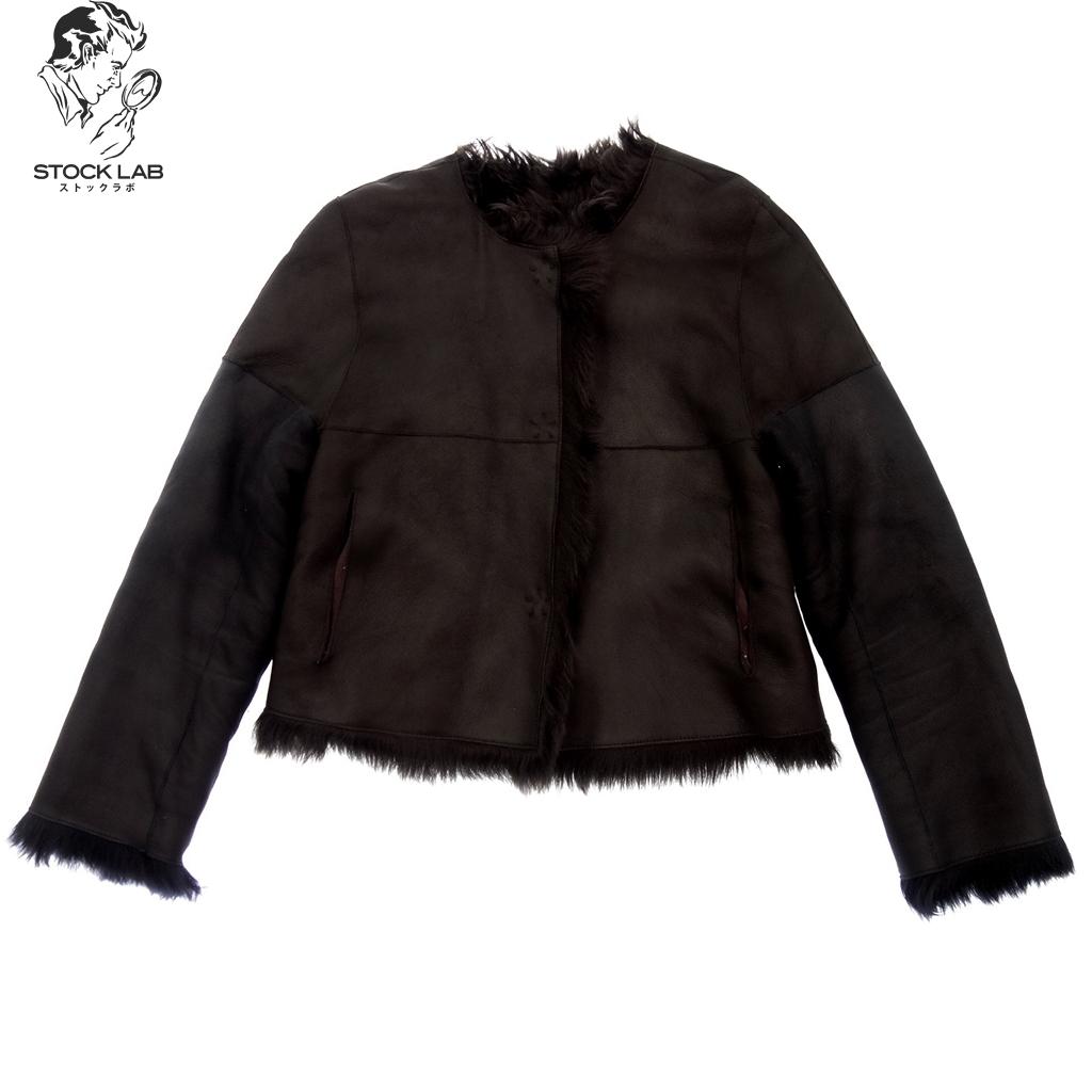 美品◆YVES SALOMON イヴサロモン リバーシブル ノーカラーショートムートンレザージャケット バイカラー 2 黒×ネイビー