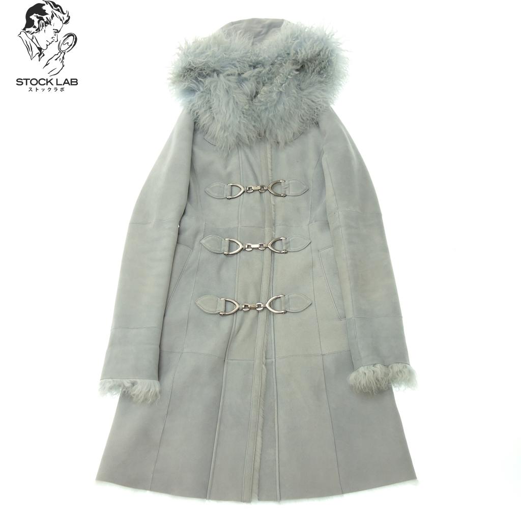 中古◆EPOCA エポカ チベットラムファー襟 フード付き ムートンコート 38 ブルー系