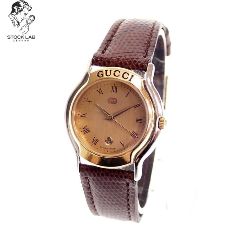 GUCCI グッチ Vintage ヴィンテージ 8000L SS GP デイト クォーツ腕時計
