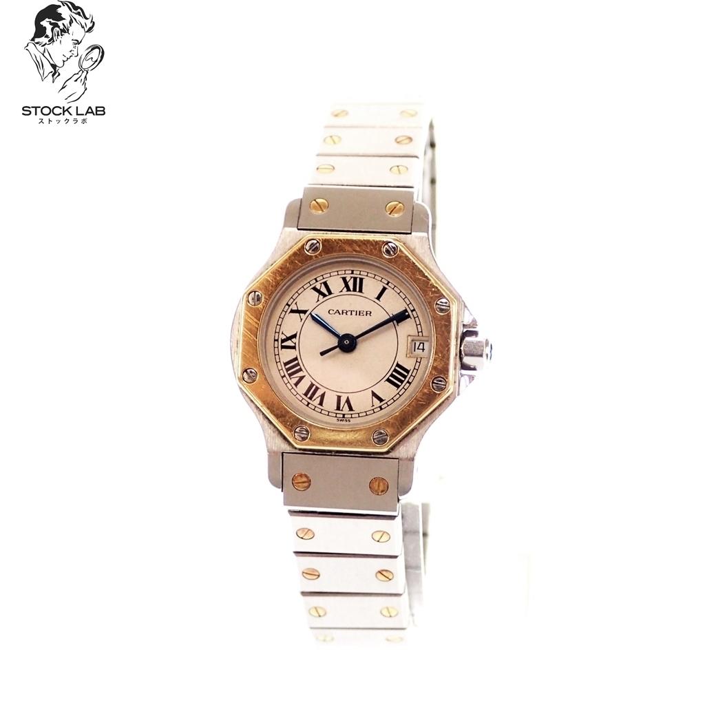 ♦ CARTIER カルティエ サントス オクタゴン クォーツ 文字盤ベージュ 腕時計 シルバー×ゴールド レディース