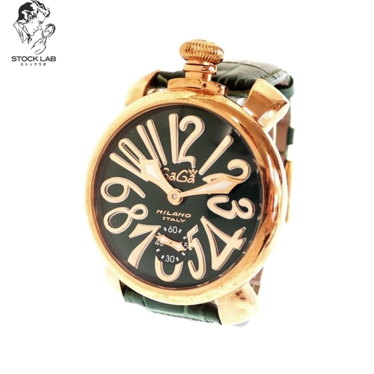 ◆GaGa MILANO ガガミラノ Manuale マヌアーレ 48cm 5011.4 手巻き 裏スケ 文字盤緑 腕時計 ゴールド×緑