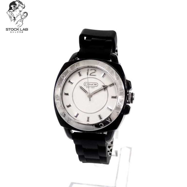 ◆COACH コーチ ボーイフレンド CA.09.7.29.0502 クォーツ ラバー 文字盤白 腕時計 シルバー×黒 レディース 箱付き