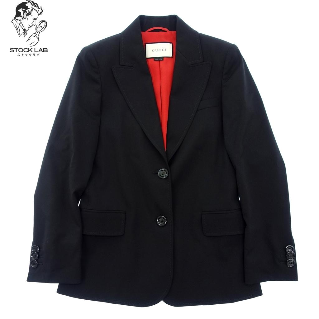 ◆GUCCI グッチ シルク混 ウールテーラードジャケット ブレザー 36 黒 レディース