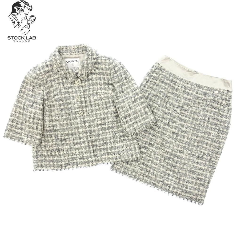 ◆CHANEL シャネル 05A カシミヤ混 ツイードセットアップ 七分袖サックジャケットスカート ココマークボタン 40 グレー系 レディース