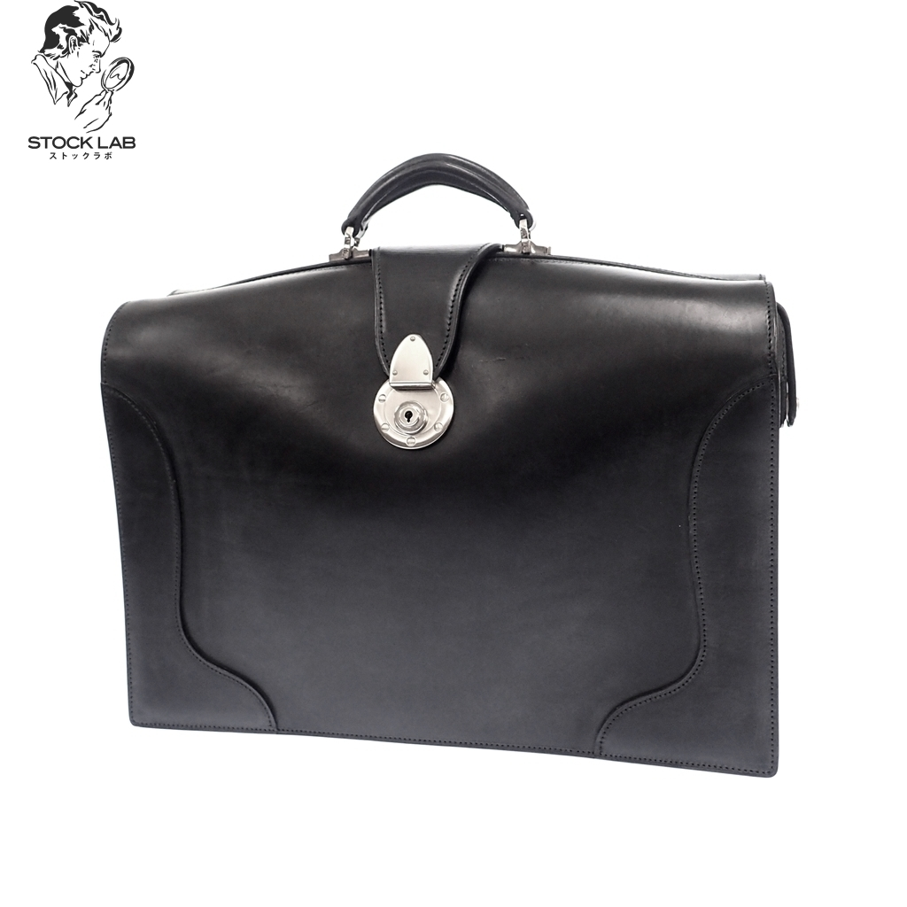 極美品◆万双 マンソー レザー ダレスバッグ ブリーフケース ビジネス ハンド 黒 メンズ