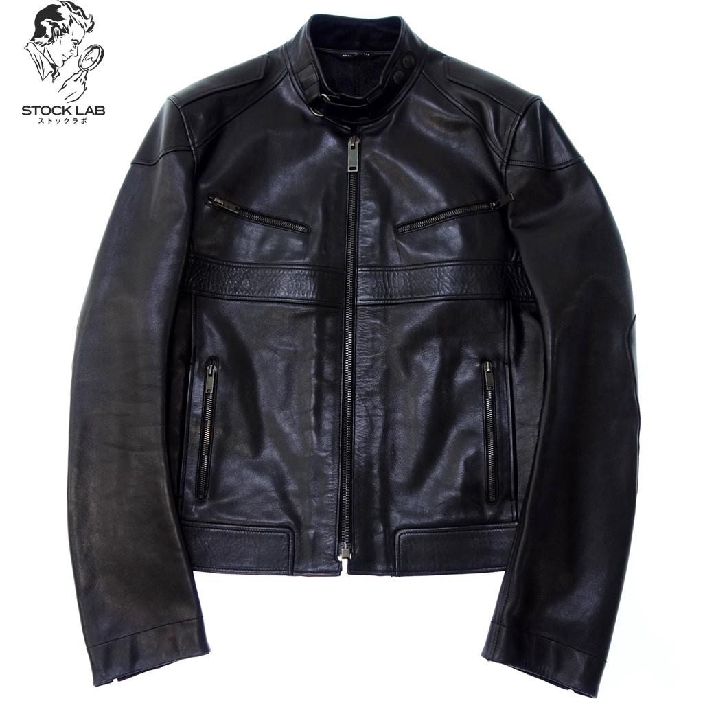◆GUCCI グッチ 名作 バトルライダースジャケット シングルレザージャケット ブルゾン 44 黒 牛革 メンズ