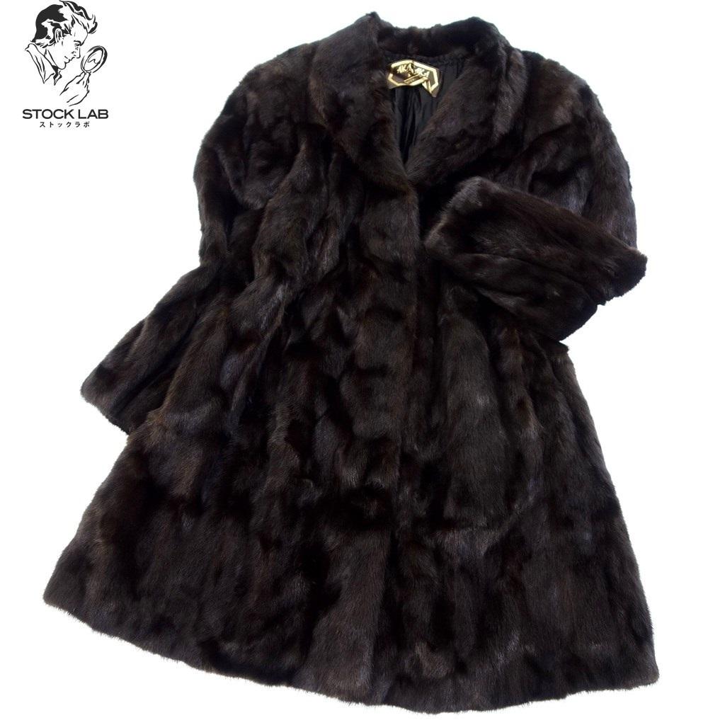 中古◆SAGAMINK サガミンク ARASKA FUR ミンク セミロングコート 裏地刺繍 F 毛皮 MINK ファー ダークブラウン レディース