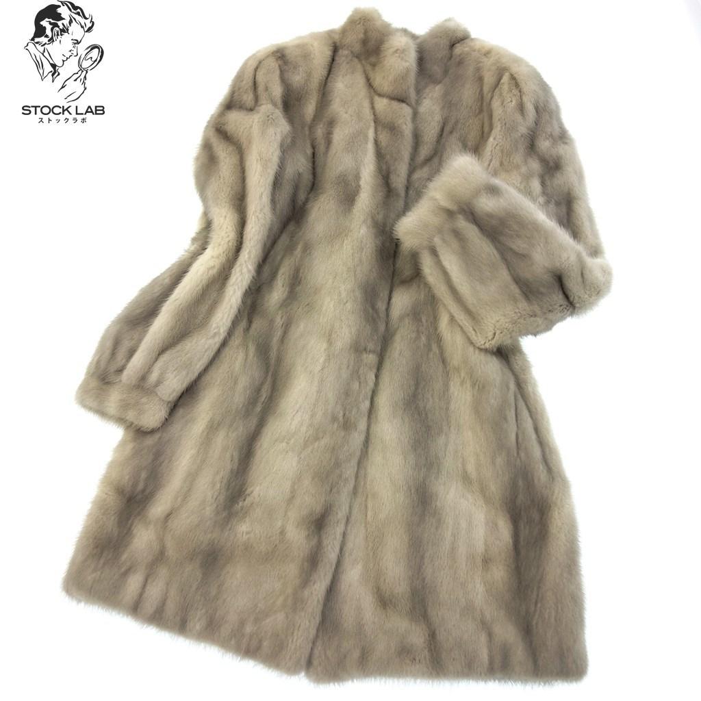 中古◆SAGAMINK サガミンセミロク サファイアミンク ングコート 13 毛皮 MINK ファー グレー系 レディース