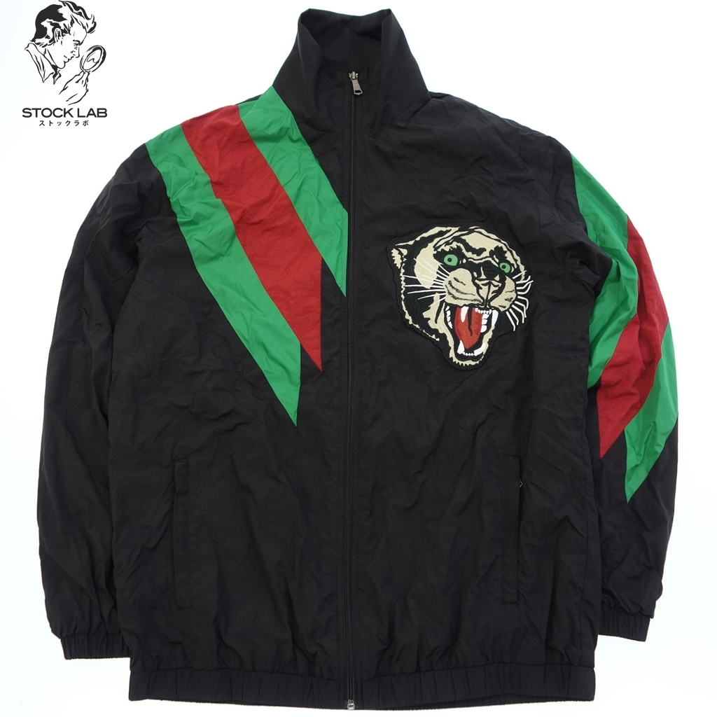 ◆GUCCI グッチ 19SS Panther Embroidered Striped Black Track Jacket ブルゾン 44 黒系