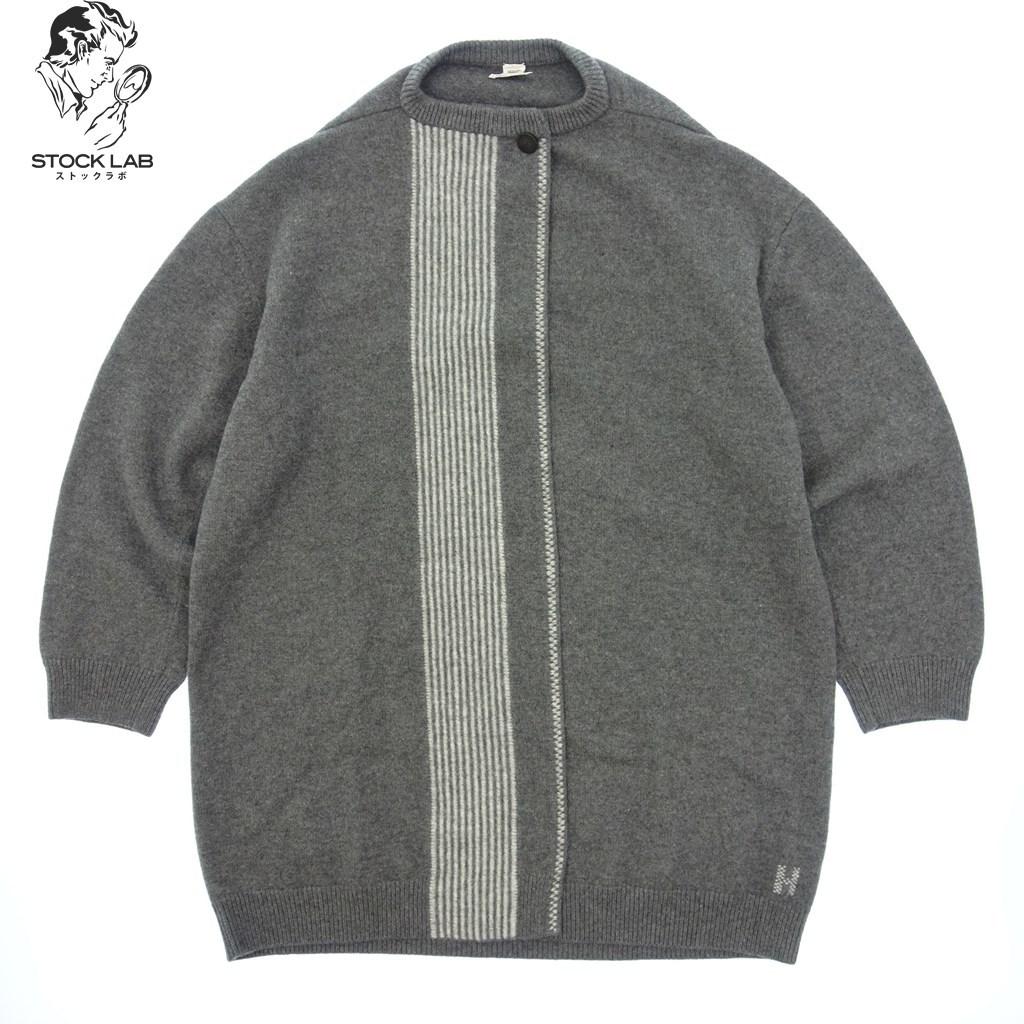 ◆HERMES エルメス ウール ロングコート 羽織 Hロゴ 38 グレー レディース