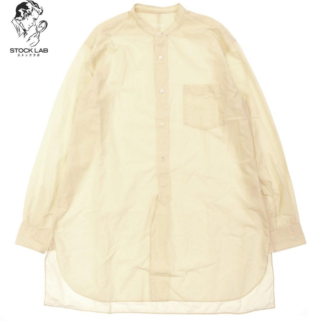 ◆COMOLI コモリ バンドカラー コットンシャツ 長袖 3 クリーム系 メンズ
