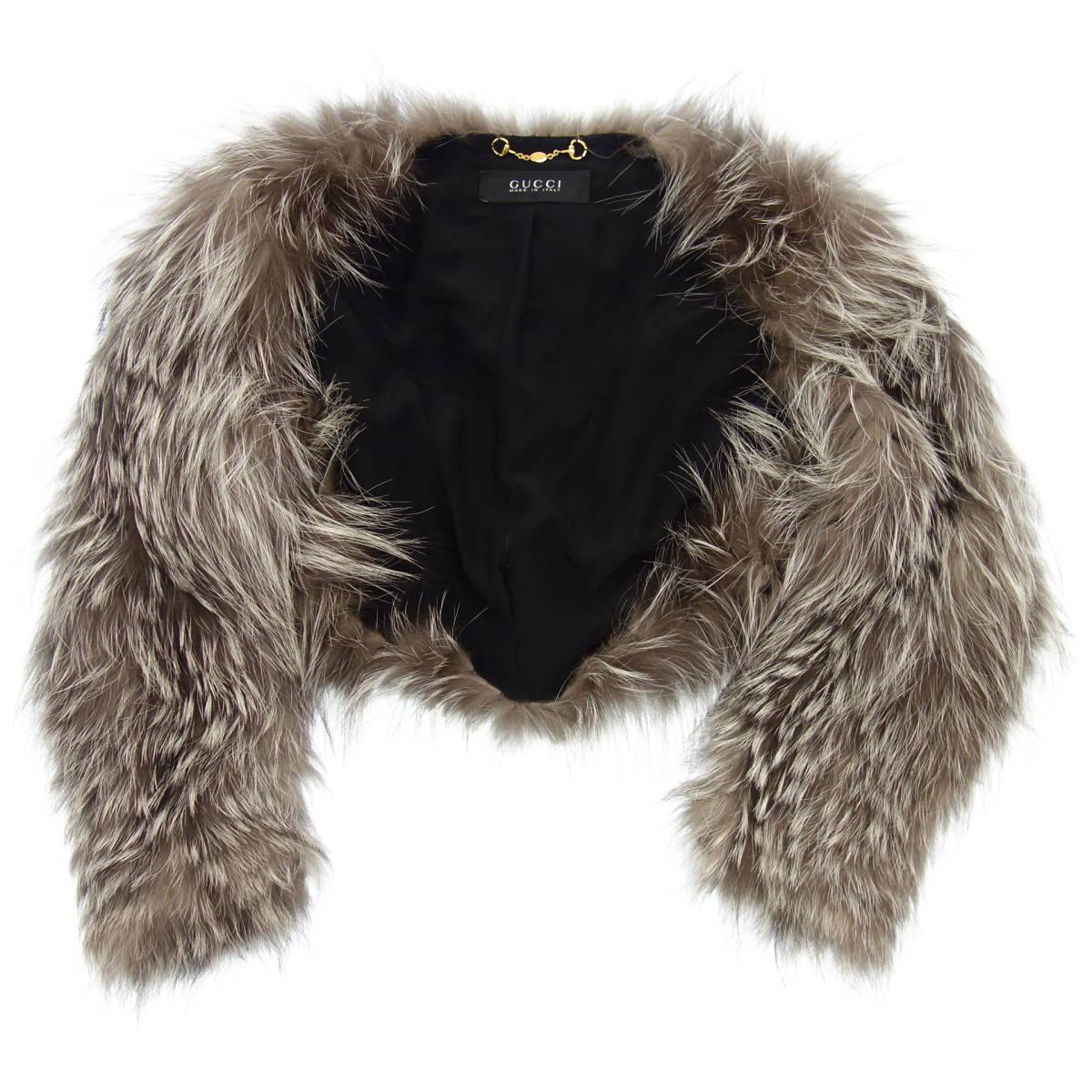 極美品◆GUCCI グッチ シルバーフォックス ショートファージャケット ボレロ 40 グレー系 毛皮 ファー