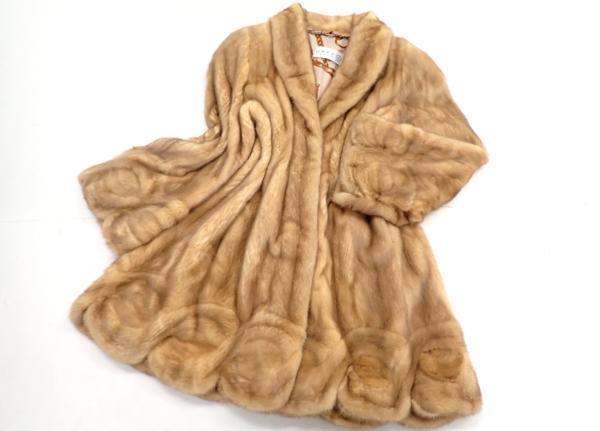 極美品◆GRES グレ ゴールデンミンク デザインロングコート スカラップ 裏地柄 L 茶系 毛皮 MINK ファー