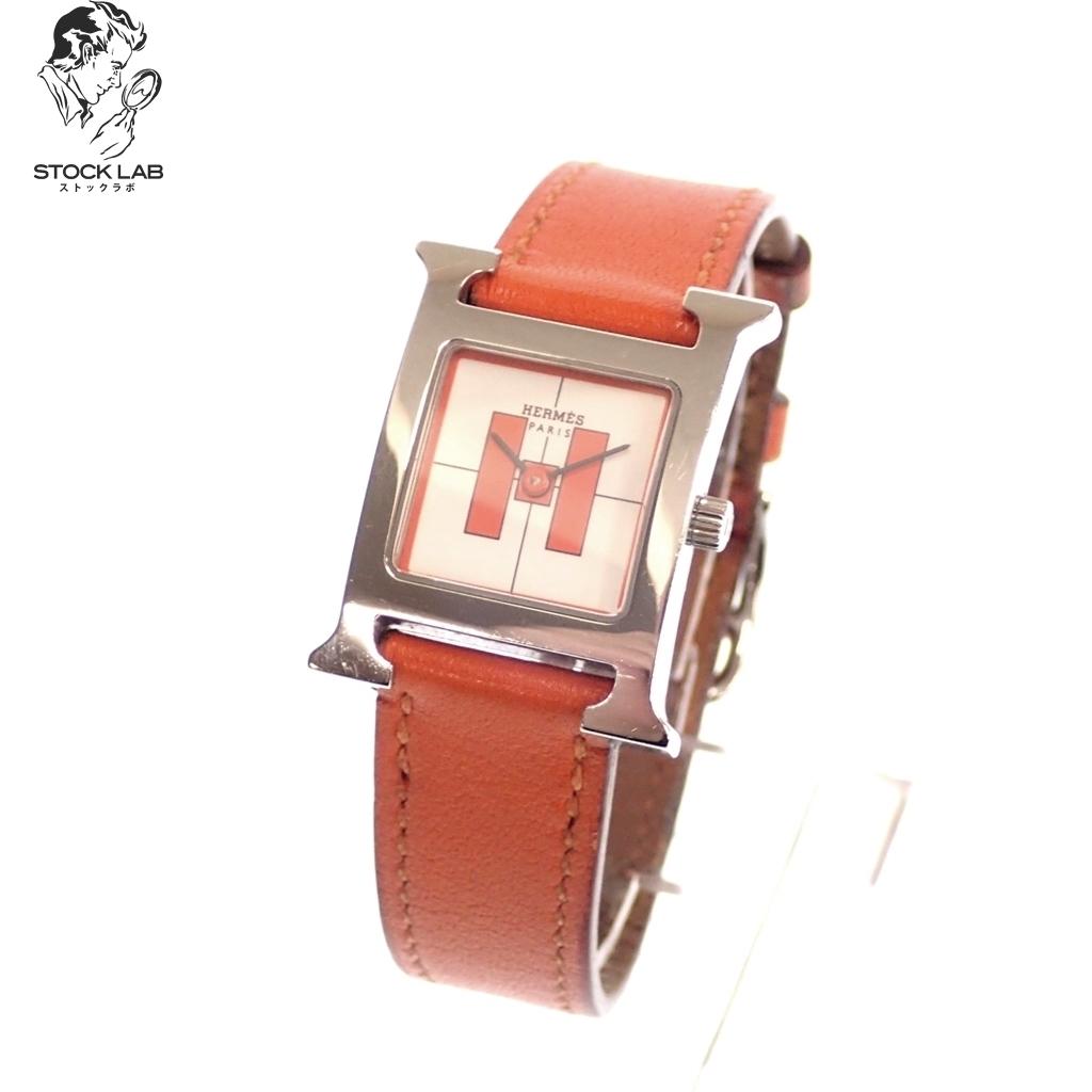 中古◆HERMES エルメス Hウォッチ HH1.210 クォーツ SS×革 レザー 白文字盤 腕時計 シルバー×オレンジ