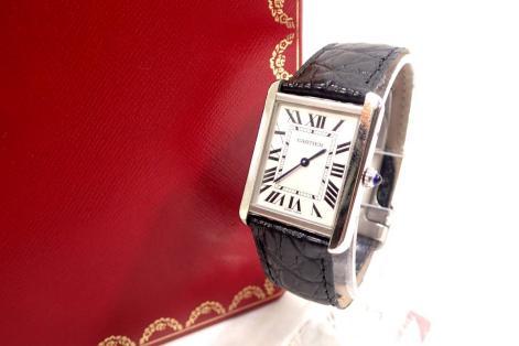 美品◆Cartier カルティエ タンクソロ LM 腕時計 クォーツ SS クロコレザー シルバー