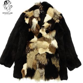 極美品◆marquis マルケス ロイヤルフラッシュ別 注 リアルファーミンク フォックス ラム 毛皮パッチワークジャケット L 黒×マルチ メンズ