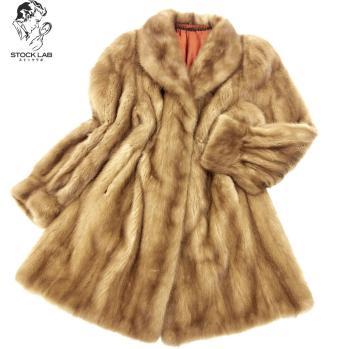 良品◆SAGA MINK サガ ミンク ロングコート 裏地刺繍 F 茶 毛皮 ファー