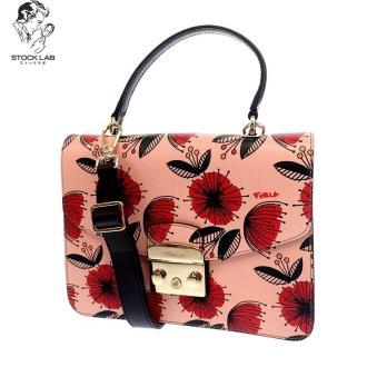 極美品◆FURLA フルラ Metropolis メトロポリス 花柄 2WAYレザーハンドバッグ ショルダー ピンク系×黒 レディース