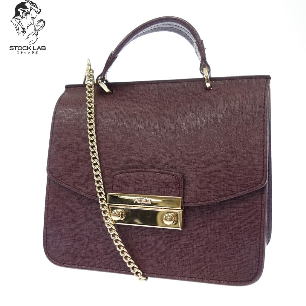 美品◆FURLA フルラ レザー メトロポリス 2WAY ハンドバッグ チェーンショルダー 紫 レディース