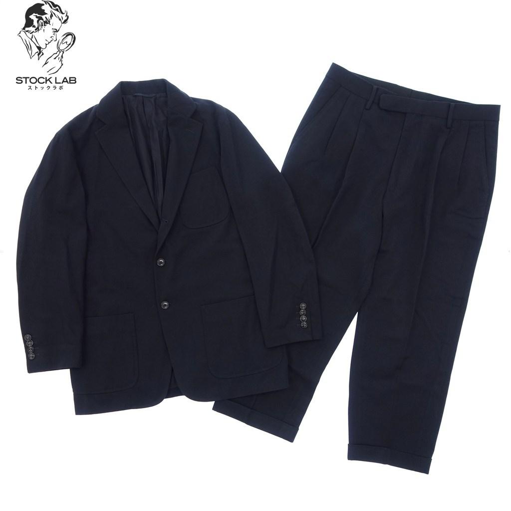 ◆COMOLI コモリ ウール混 3Bセットアップスーツ ジャケット パンツ 1 2 ネイビー メンズ