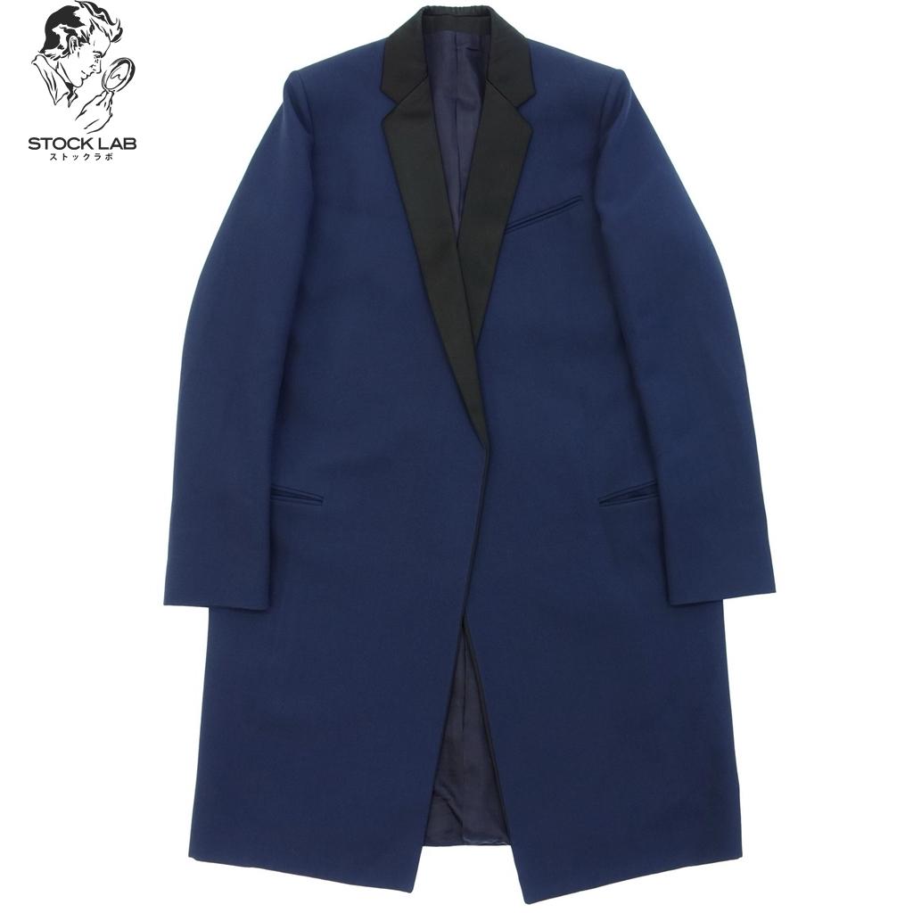 ◆CELINE セリーヌ フィービー ウールサテン クロンビーコート ロングコート 36 ネイビー×黒