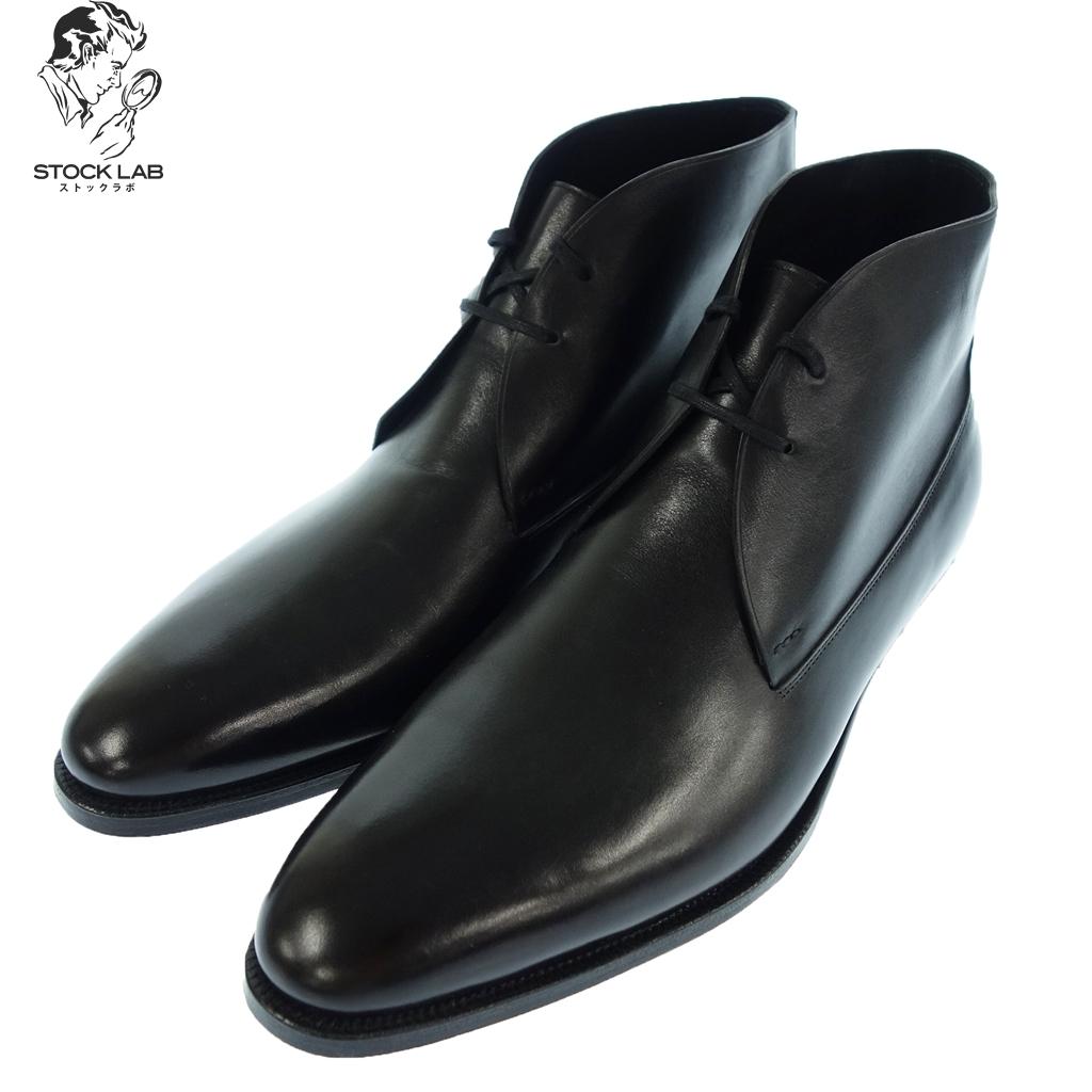 新品同様◆JOHN LOBB ジョンロブ 2012イヤーモデル BLACK MISTY CALF レザーチャッカブーツ 8.5E 黒 メンズ