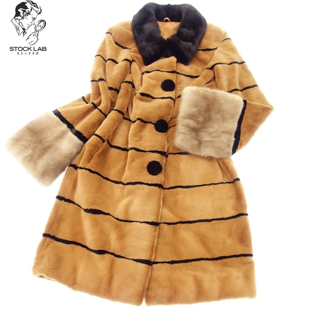 美品◆ シェアードウィーゼルミンク デザインロングコート 11 茶 毛皮 MINK ファー