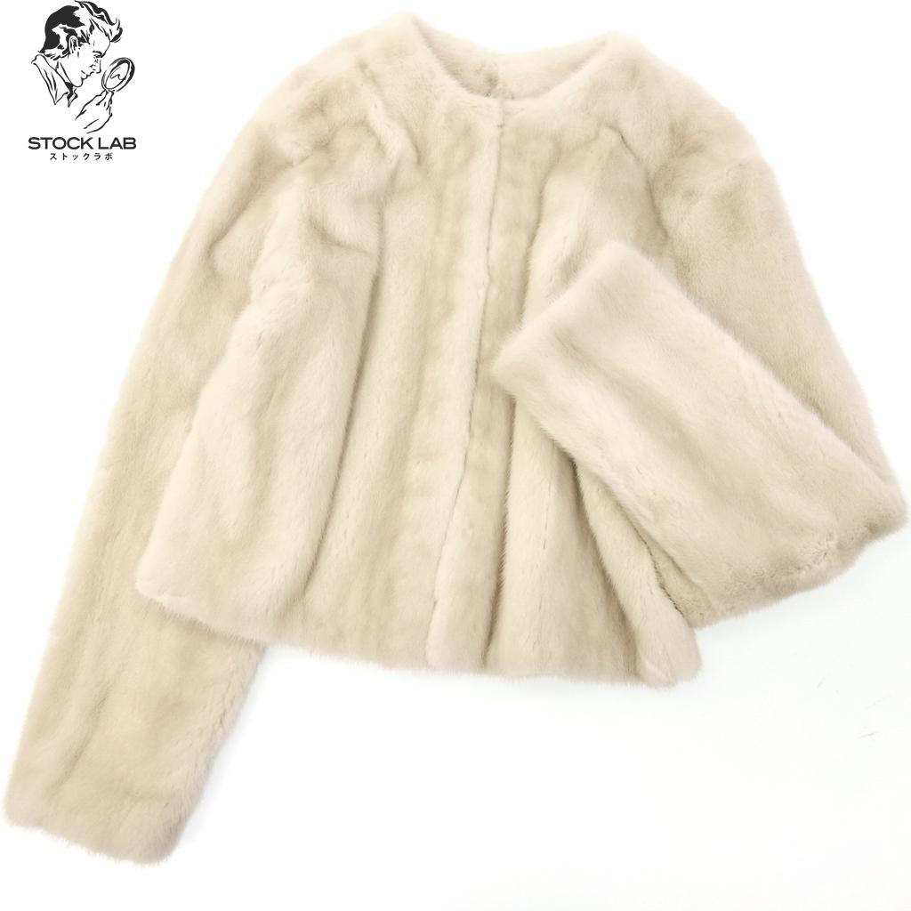 ◆HERMES エルメス パロミノミンク ジャケット コート 38 ベージュ レディース